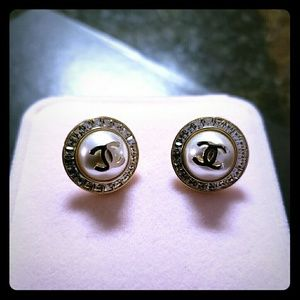 Vintage Coco Chanel earrings gold round studded
